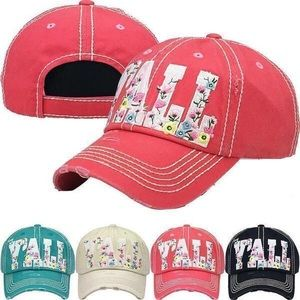 Accessories - Floral y'all baseball hat two colors